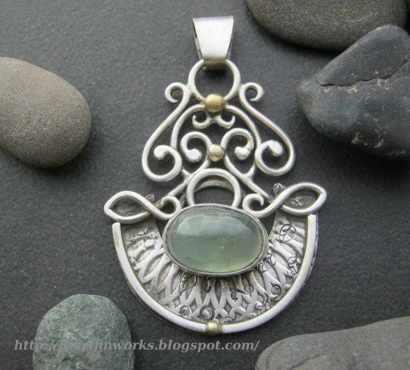 Green prehnite pendant, ornate heavy lace sterling silver filigree above a crescent shaped solid lower plate, one of a kind, handmade by ElfinWorks on Etsy https://www.etsy.com/listing/129407801/green-prehnite-pendant-ornate-heavy-lace