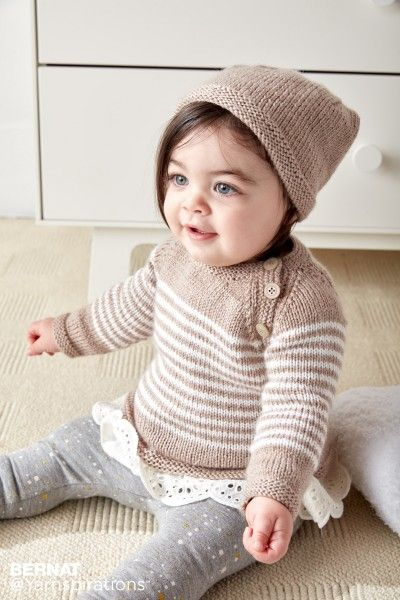 Bernat Wee Stripes Knit Pullover and Hat, Knit Pattern ...