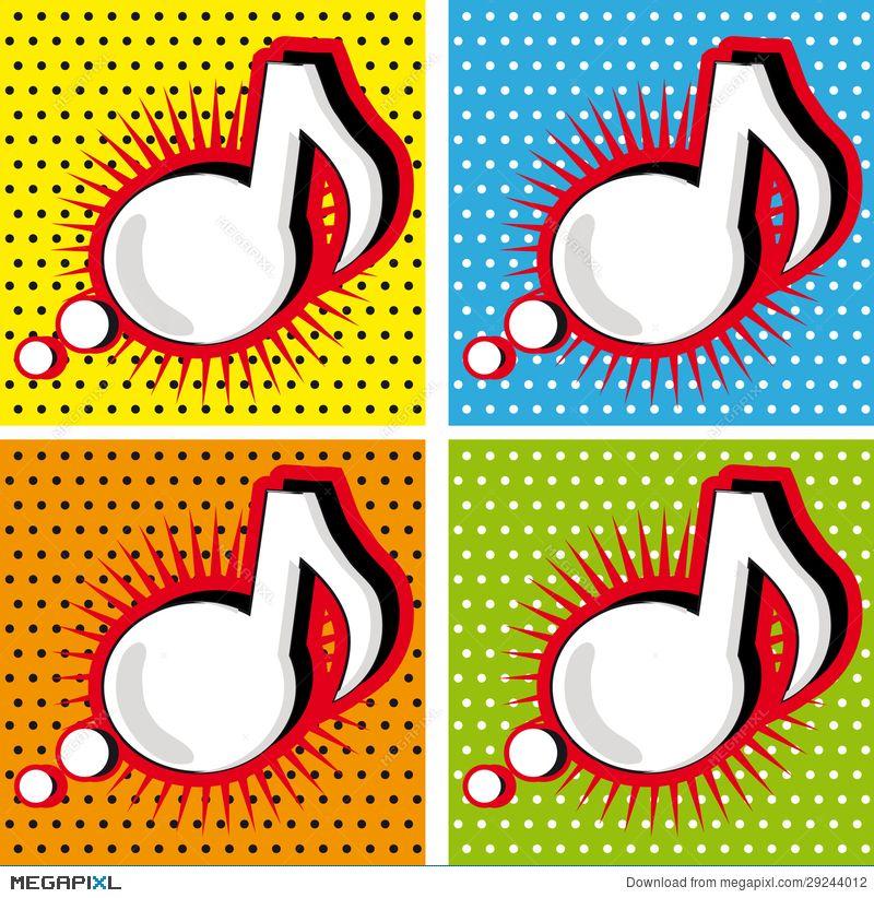 Speech Bubble Music Note In Pop Art Style Pop Art Modern Pop Art Art