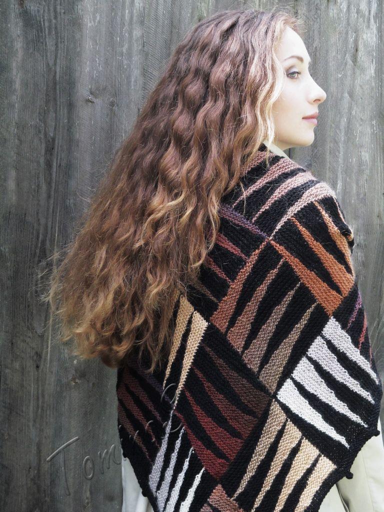 """Knit shawl """"SAFARI"""" (knitted shawl, handmade wrap, knitting wool shawl, knit patchwork, entrelac)"""