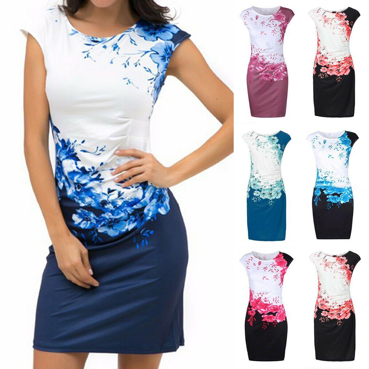 Damen Blumen Minikleid Sommerkleid Slim Etuikleider Abendkleid Cocktailkleid