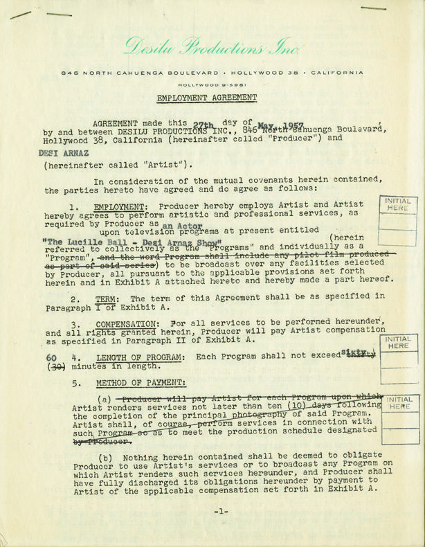 Desilu employment contracts involving Lucy and Desi Arnaz (2 - production contract agreement
