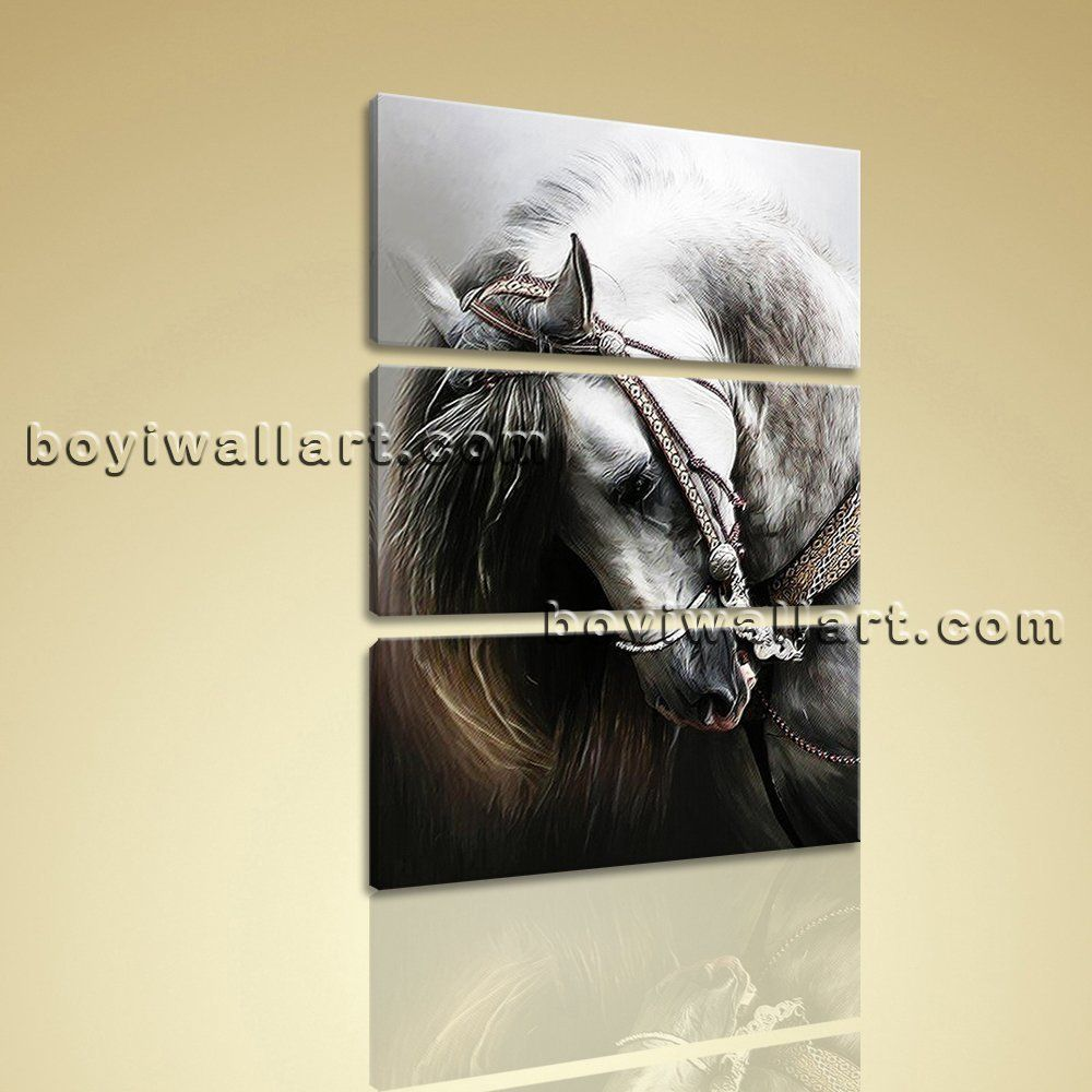 Large Vertical Wall Art large vertical painting hd giclee print black white horse 3 pieces