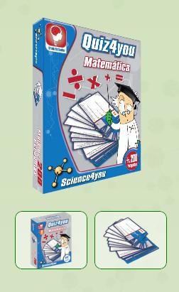 QUIZ4YOU - MATEMÁTICA  Descobre:  Treina a tua matemática com o Quiz4you! - Responde às questões para conseguires as cinco partes do símbolo da Science4you. Descobre o que acontece quando aparecer uma das cartas especiais!  - São horas de diversão e aprendizagem com as mais de 200 perguntas do Quiz4you! - Aprende enquanto te divertes com os teus amigos e colegas, em casa ou na escola, com a Science4you!