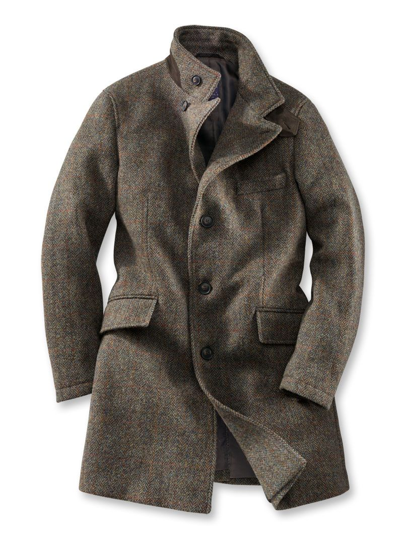 Damen mantel aus harris tweed
