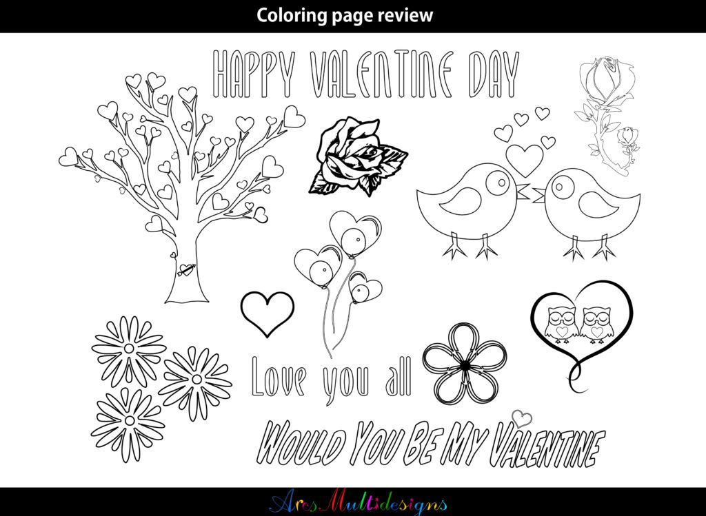 Valentine Coloring Pages SVG (Graphic) by Arcs Multidesigns