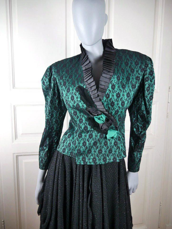French Vintage Brocade Blazer, Emerald Green w Black Lace Print Elizabethan Jacket, 1980s Dynasty Clothing: Size 10 US, Size 14 UK by YouLookAmazing on Etsy