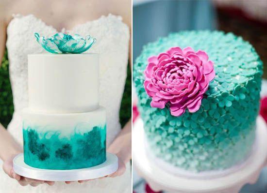 12 Torten Hochzeitstorte Bilder Tuerkis Weiss Blume Pink Kontrast
