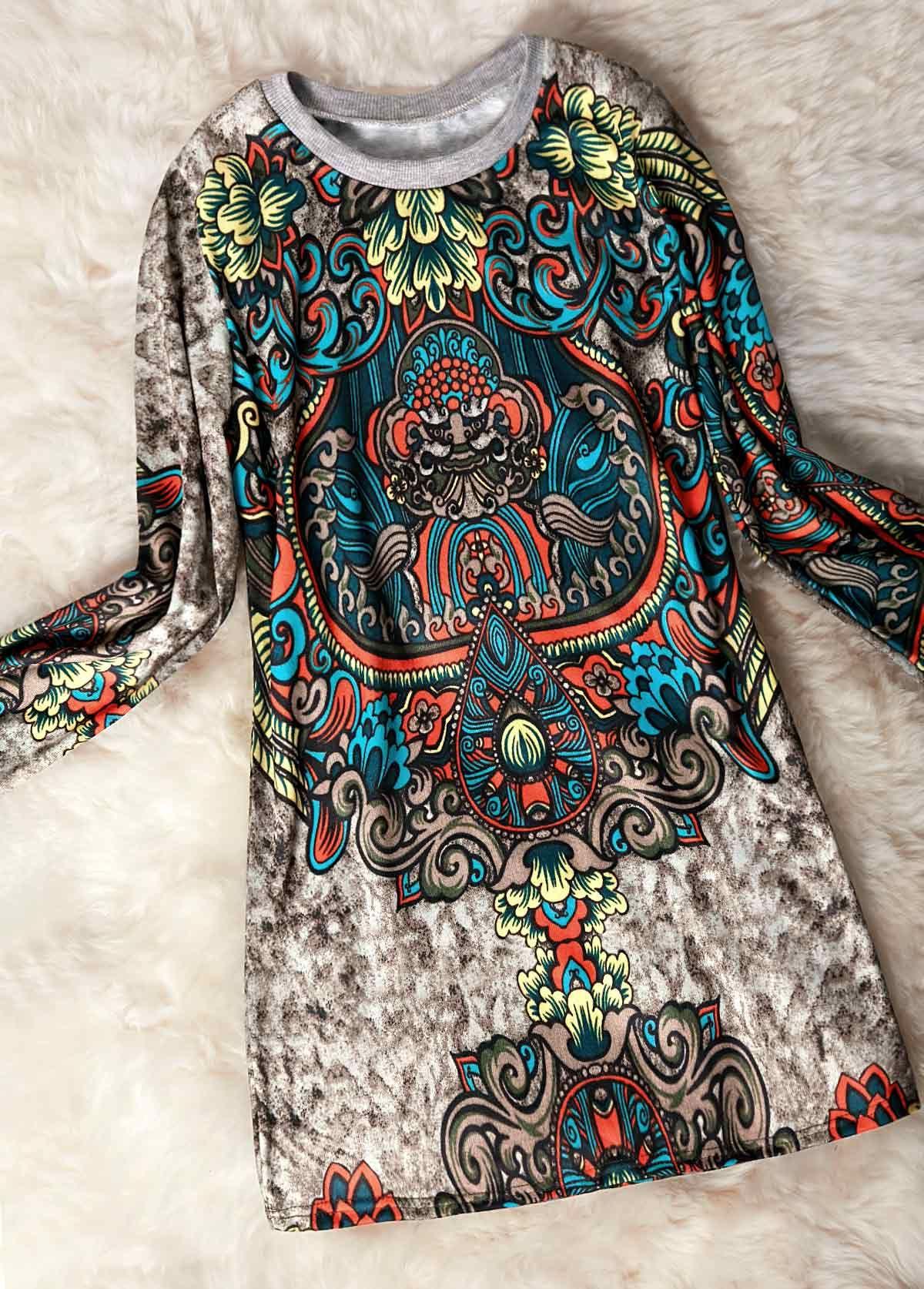 Printed round neck long sleeve straight dress straight dress