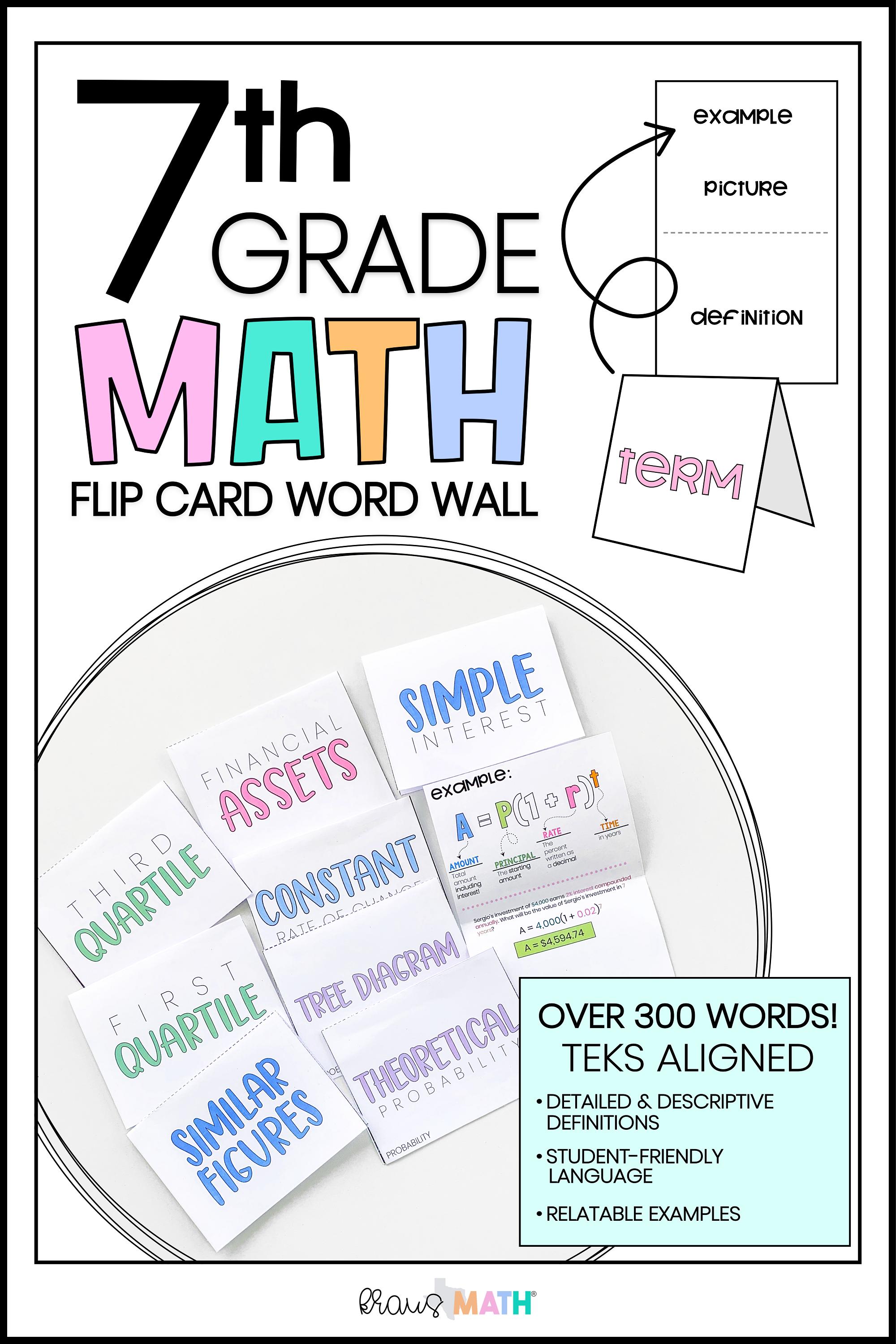 hight resolution of 7th Grade Math FLIP CARD Word Wall   Kraus Math   7th grade math