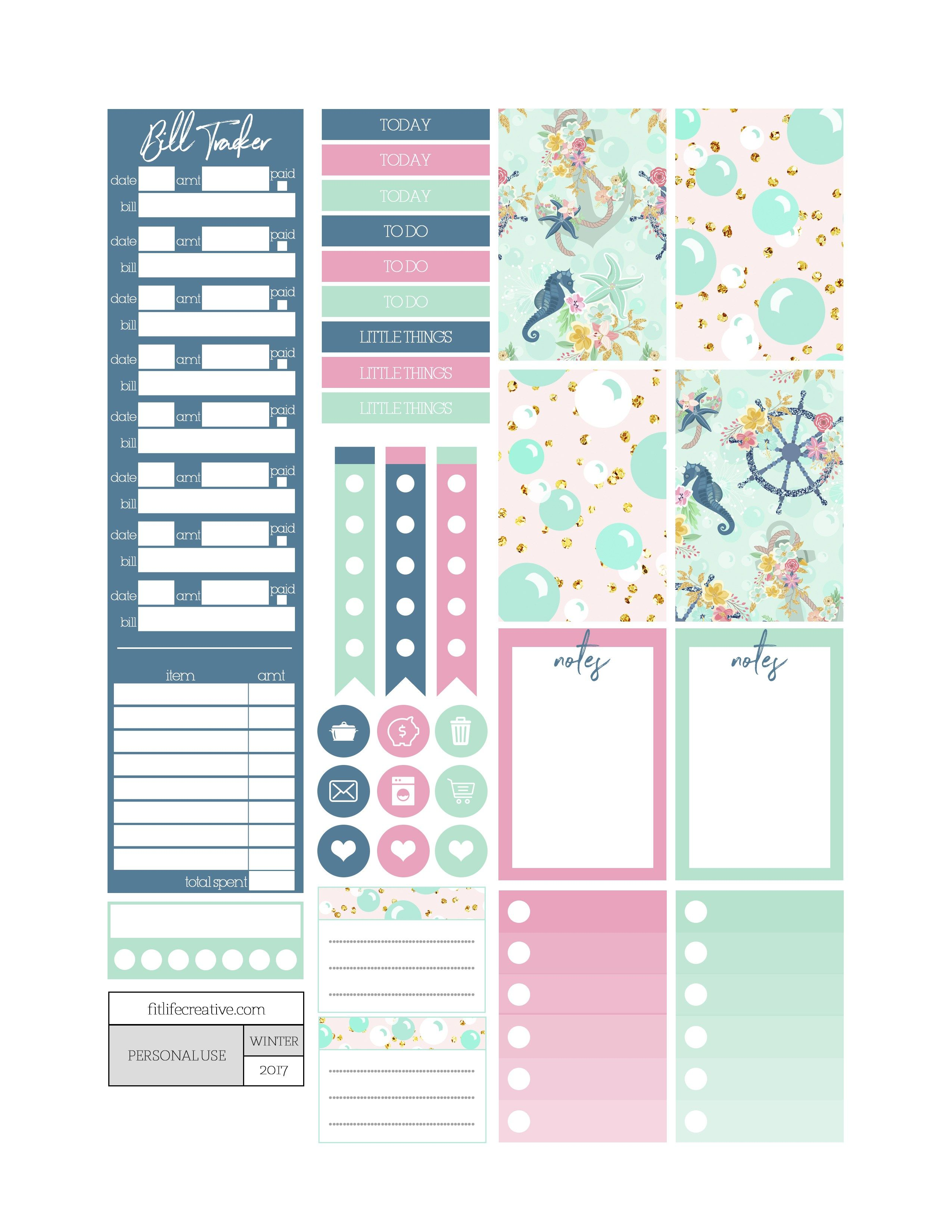 Free Printable Under The Sea Planner Stickers From Fit Life