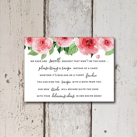 Printable Bridal Shower Recipe Cards with floral bridal suite - bridal shower invitation samples