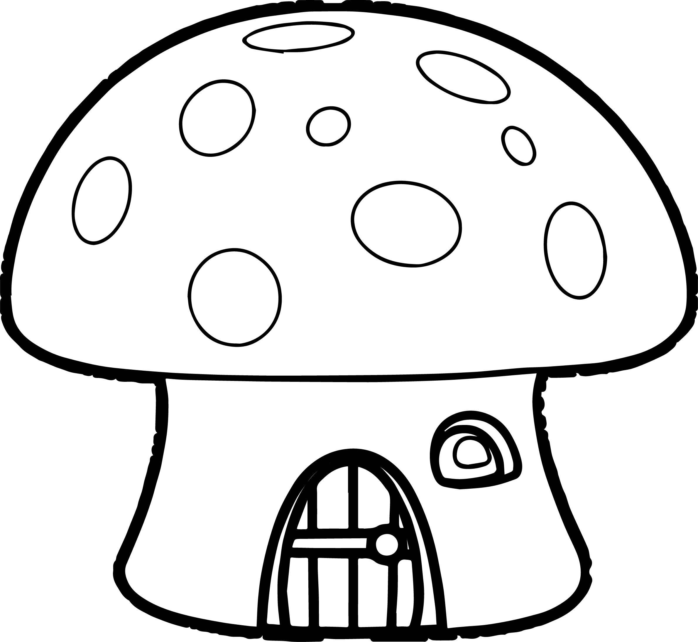 Nice Orange Mushroom House Smurf Coloring Page Mushroom House