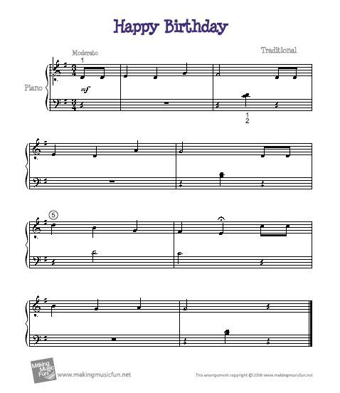 Happy Birthday Song On Keyboard And Piano Sheet Music