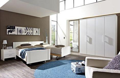 NOLTE TURIJN slaapkamer in mat wit , deelbaar comfort bed,draaideur ...