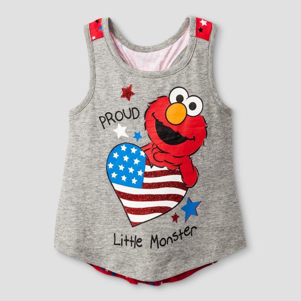 Toddler Girls' Elmo Tank Top Sesame Street Gray 3T