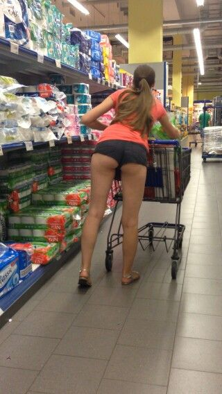 Thank Amature female in booty shorts at wal mart