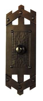 """hand crafted arts and crafts style copper door bell button    C349X  Pickett Style  Door Bell Button  2-1/2""""x7""""  $104.82"""