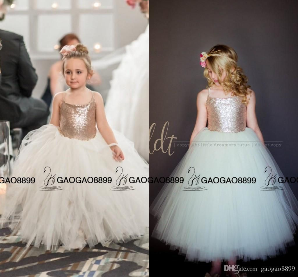 So cute sparkly rose gold sequins puffy little princess for Little flower girl wedding dresses