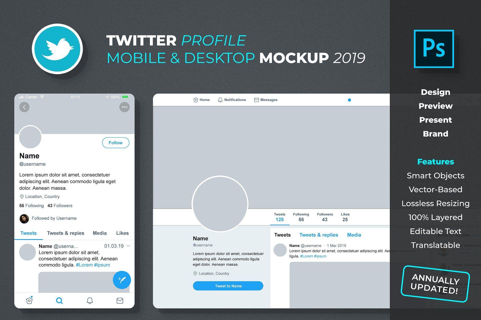 Twitter Profile Mockup Twitter Template Twitter Design Mockup