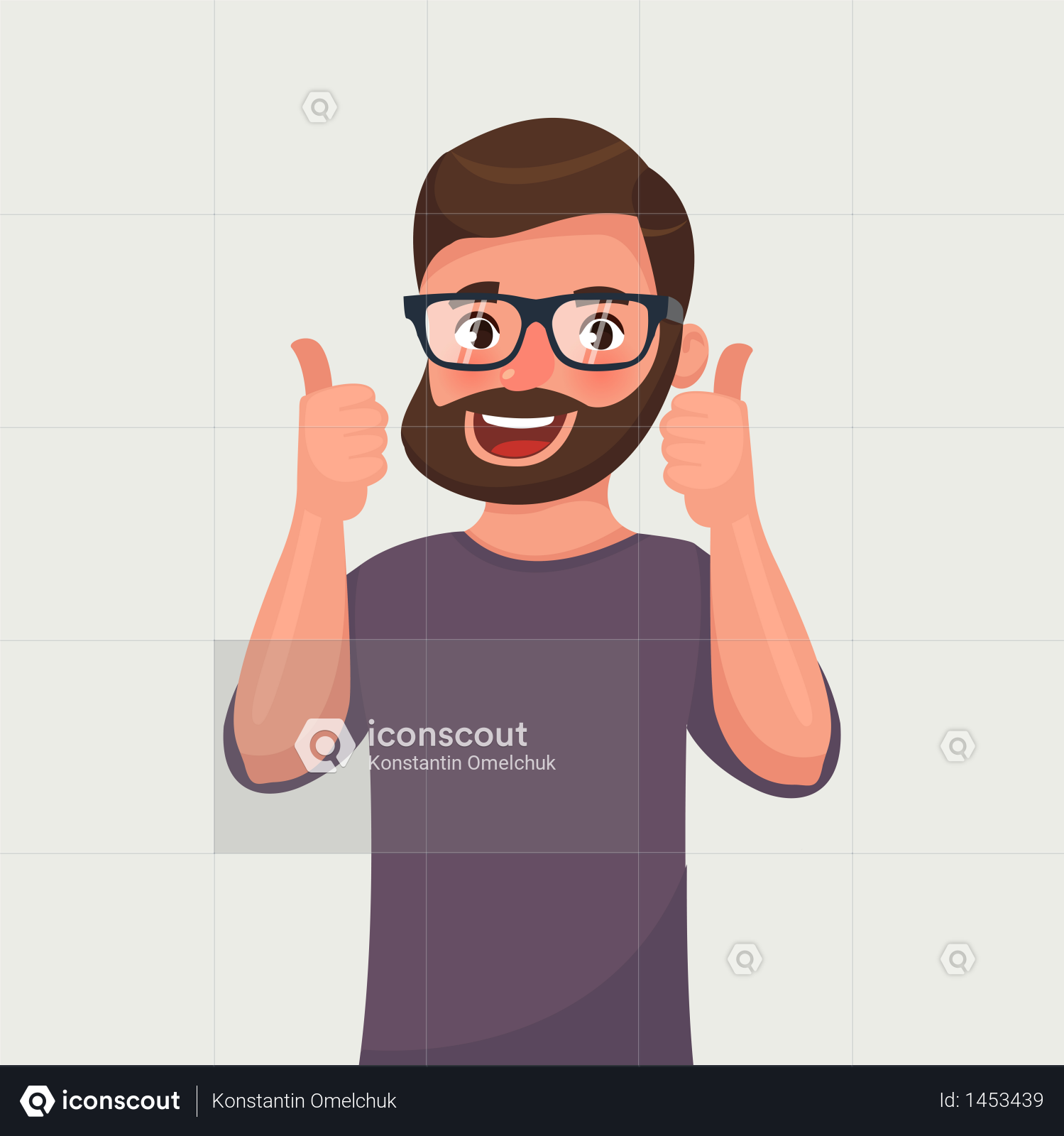 Premium Happy Man In Glasses With Beard Shows Gesture Cool Illustration Download In Png Vector Format Illustration People Illustration Cool Stuff
