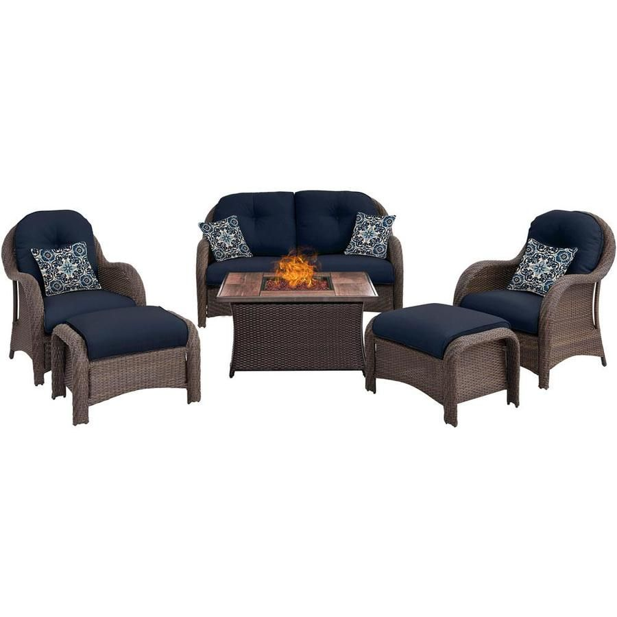Hanover Newport 6 Piece Woven Seating Set In Navy Blue With Fire