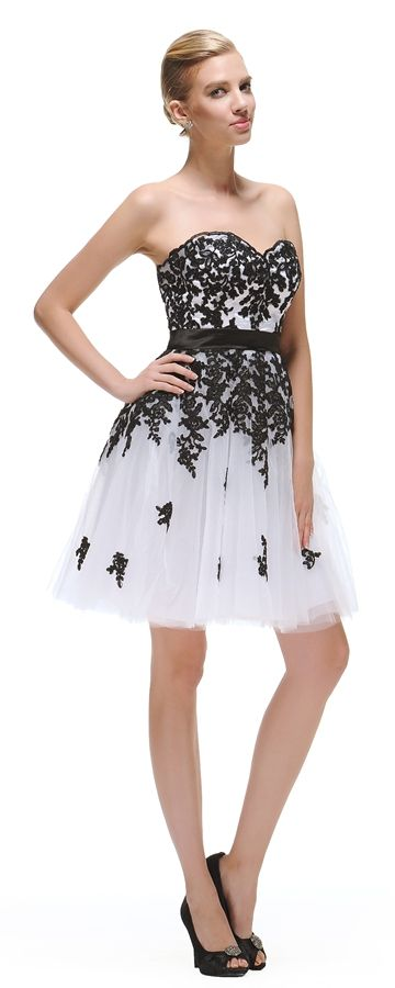 White Short Prom Dress with Black Lace | Short prom dresses, Short ...