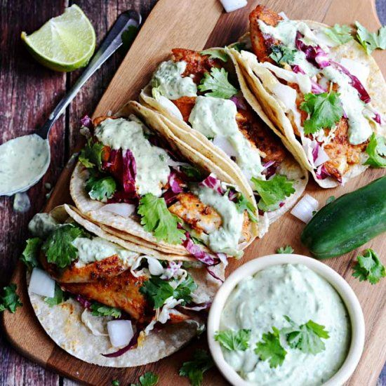 Blackened fish tacos with avocado cilantro sauce recipe for Recipe for fish taco sauce