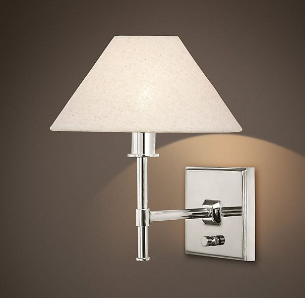 Petite Candlestick Sconce Polished Nickel with Linen Shade ...