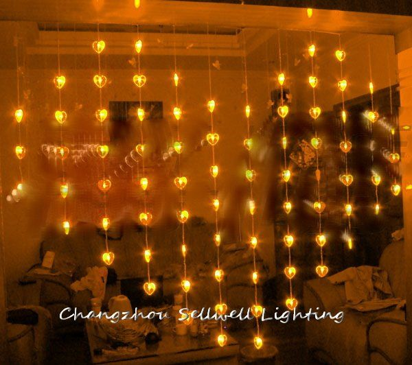 Goodshowcase decoration entrance decoration 78 pcs golden shape of heart bead curtain lamp h165