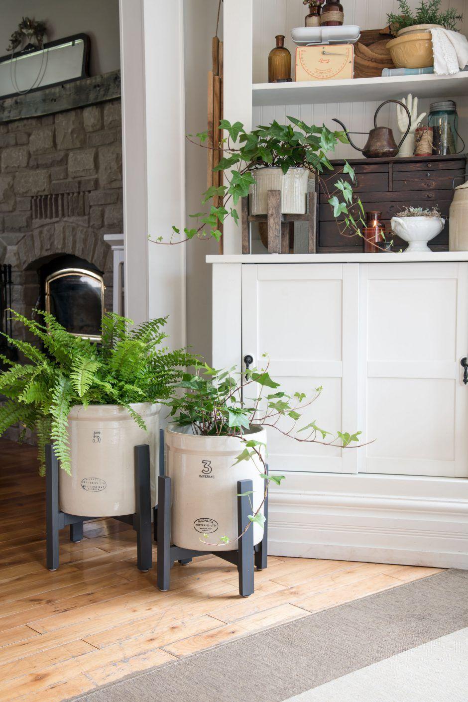 DIY Stands for Vintage Crocks - Cozy Living #cozyliving
