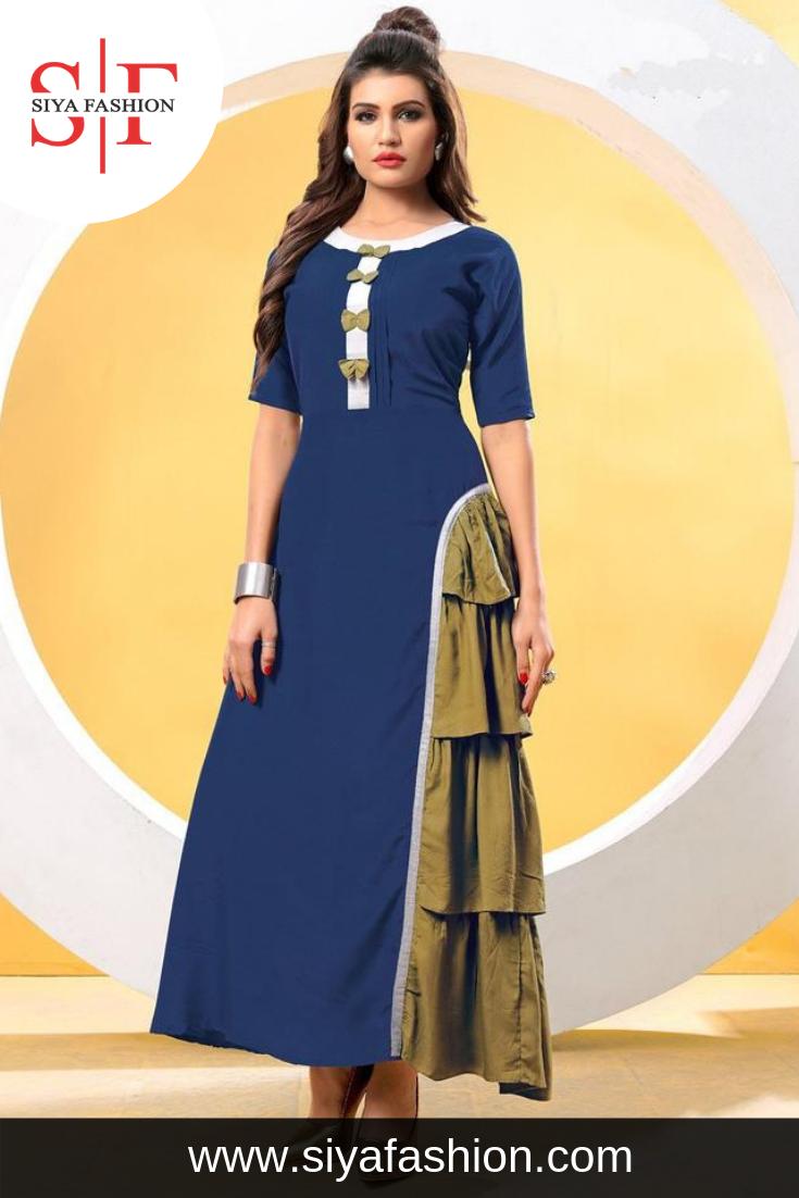75b53f9507 Siya #Fashion #Designer #Partywear Blue Heavy Rayon #Cotton #Fancy #Kurti  Fabric :- Heavy Rayon Cotton Color :- Blue Pattern :- Plain Occasion :-  Festive ...