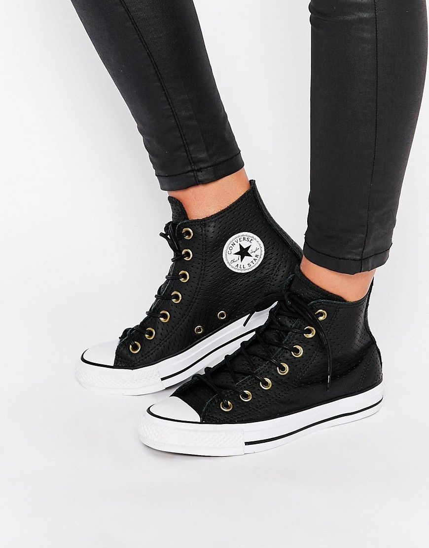 Image 1 of Converse Perforated Leather Chuck Taylor Hi Top