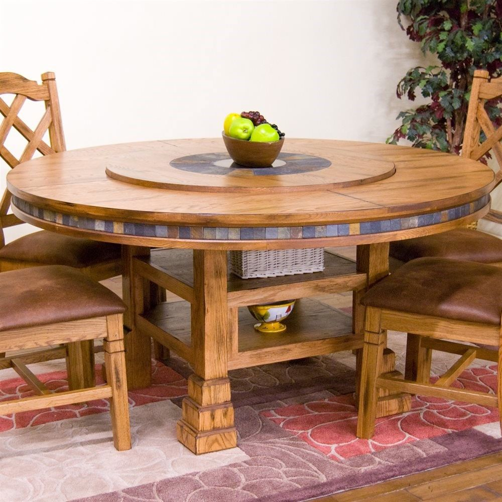 Sunny Designs 1225RO Sedona 60 Round Table with Lazy Susan in
