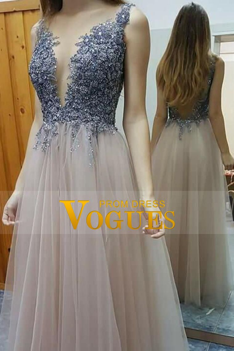 deep vneck open back a line prom dresses beaded bodice floor