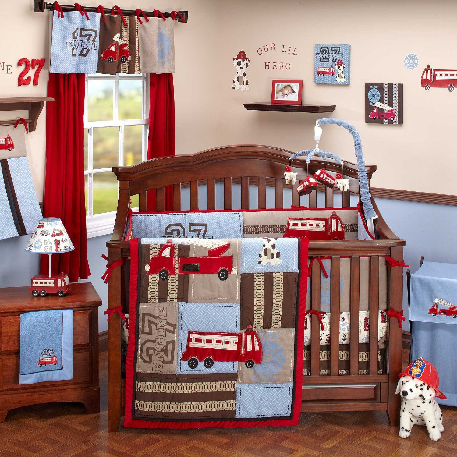 Firefighter Fire Truck Crib Bedding Nursery Decor