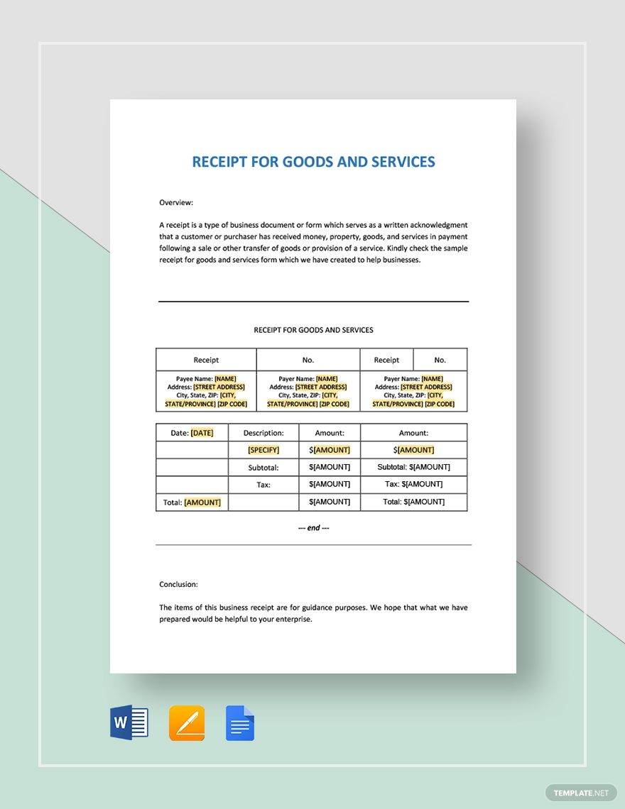 Receipt For Goods Or Services Template Free Pdf Google Docs Google Sheets Excel Word Template Net Templates Google Sheets Goods And Services