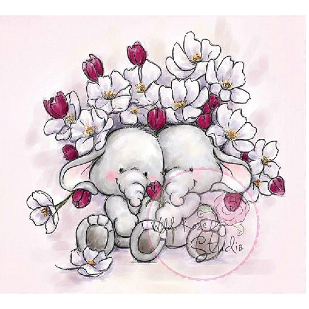 Wild Rose Studio Clear Stamp, Floral Hugs | Clip Art, Illustration