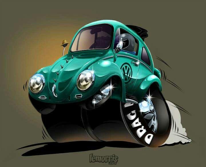 Drag Bug Toon Cartoon Illustration Vw Volkswagen Aircooled Autoart Photoshop Artbylemorris Automotive Artwork Automotive Art Illustrations Vw Art