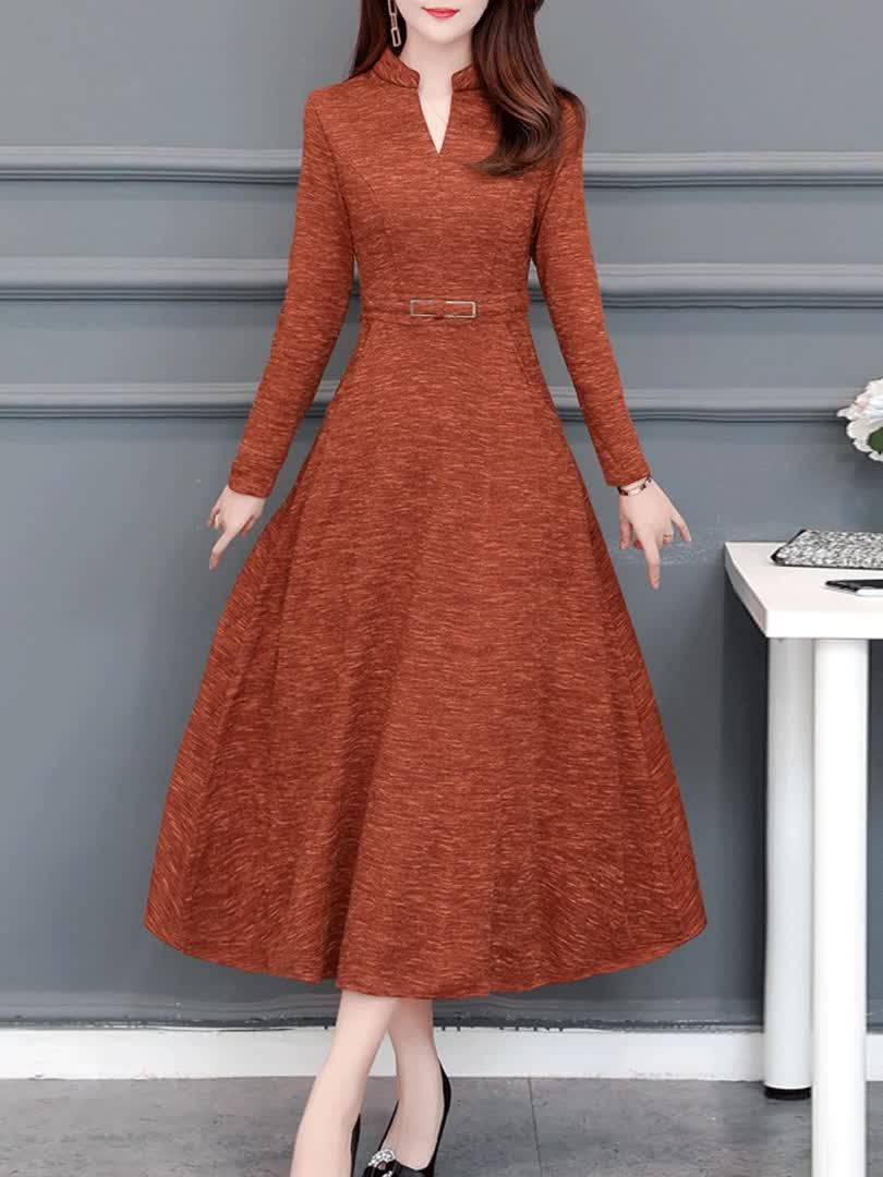 Women's Long Sleeve Patchwork Slim Midi High Waist A Line Dress Simple V Neck Dresses -   17 dress Simple midi ideas