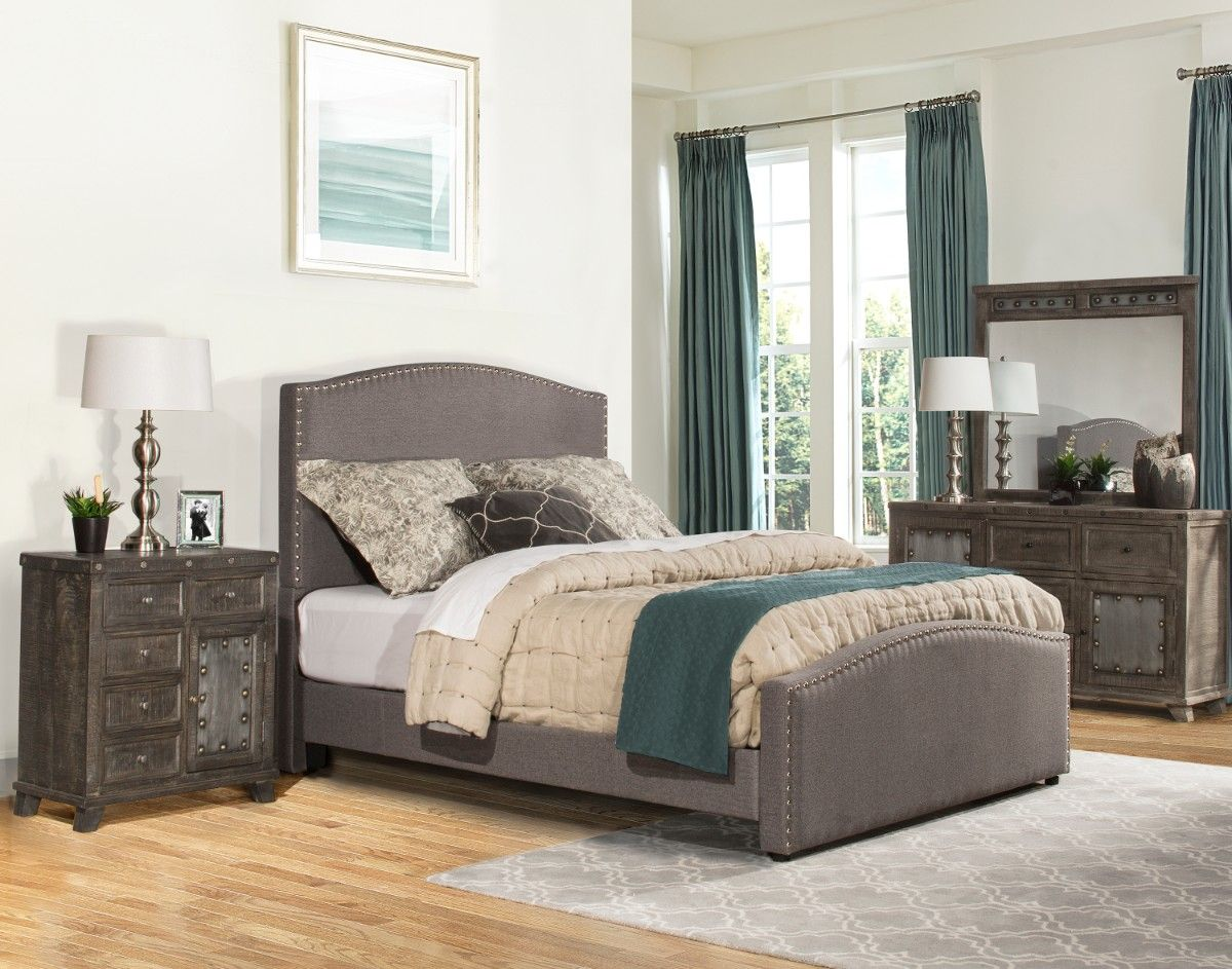 Kerstein Cal King Bed Set w/ Rails in Orly Gray Fabric