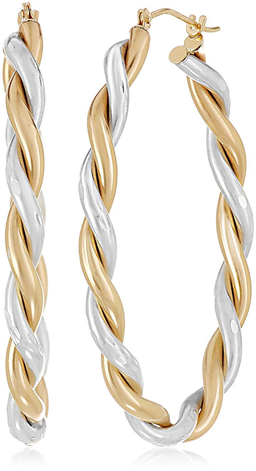14k Yellow Gold Bonded Sterling Silver Twisted Hoop Earrings Click On The