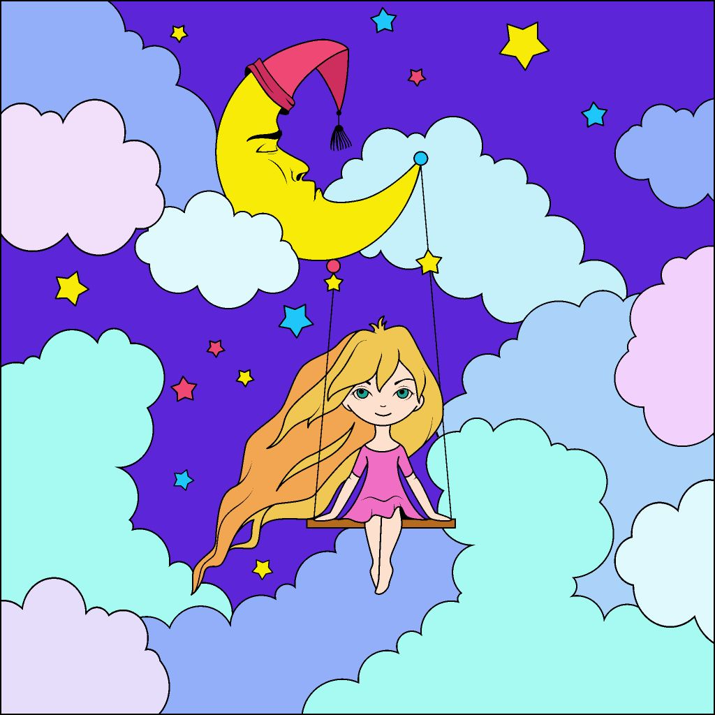 Swinging On Moonbeams Happy Colors Colorful Art Coloring Books