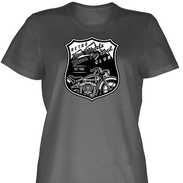 Two Wheels Move The Soul Retro Motorcycle T-Shirt (Heavy Cotton)