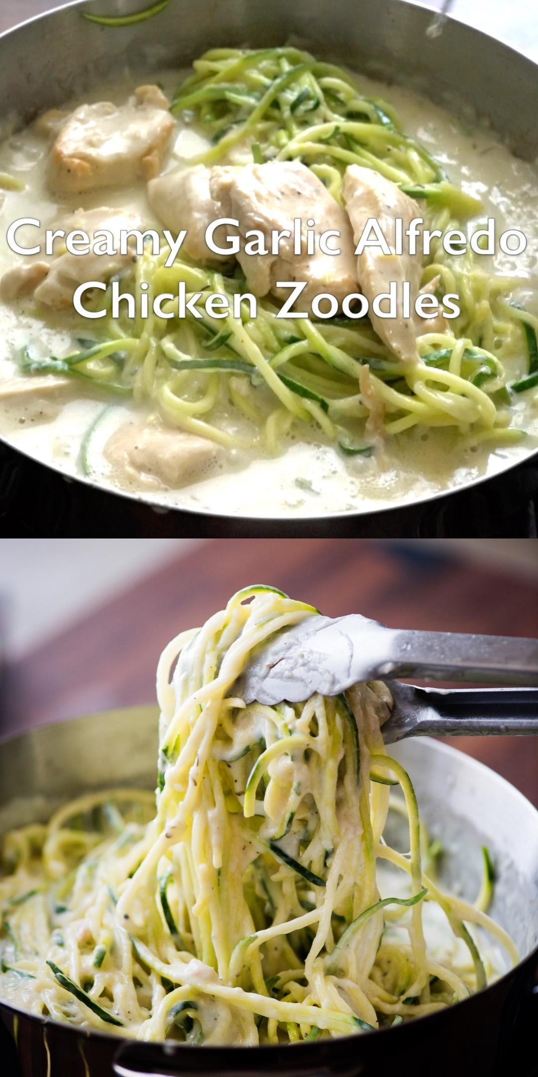 Photo of Creamy Garlic Chicken Alfredo Zucchini Noodles – KETO