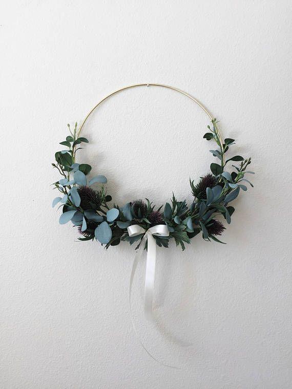Minimalist Wreath Modern Wreath DIY Fall Wreath Christmas Holiday Wreath Scandinavian Wreath DIY Kit Eucalyptus Wreath