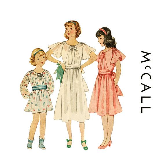 1930s Girls Dress Pattern McCall 7762 Shirred by retromonkeys, $98.00