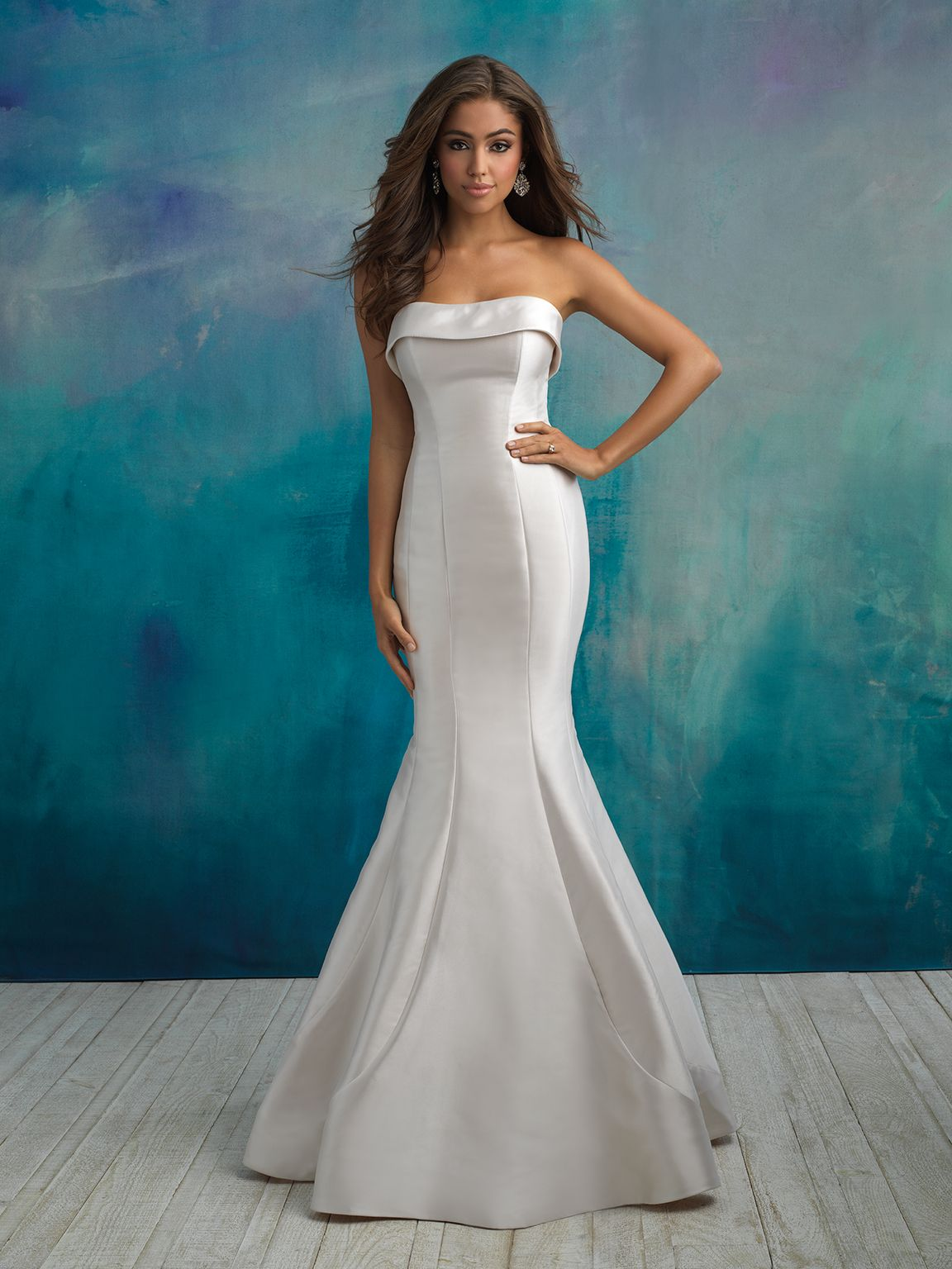 Chic, clean lines create a timeless silhouette in this strapless ...