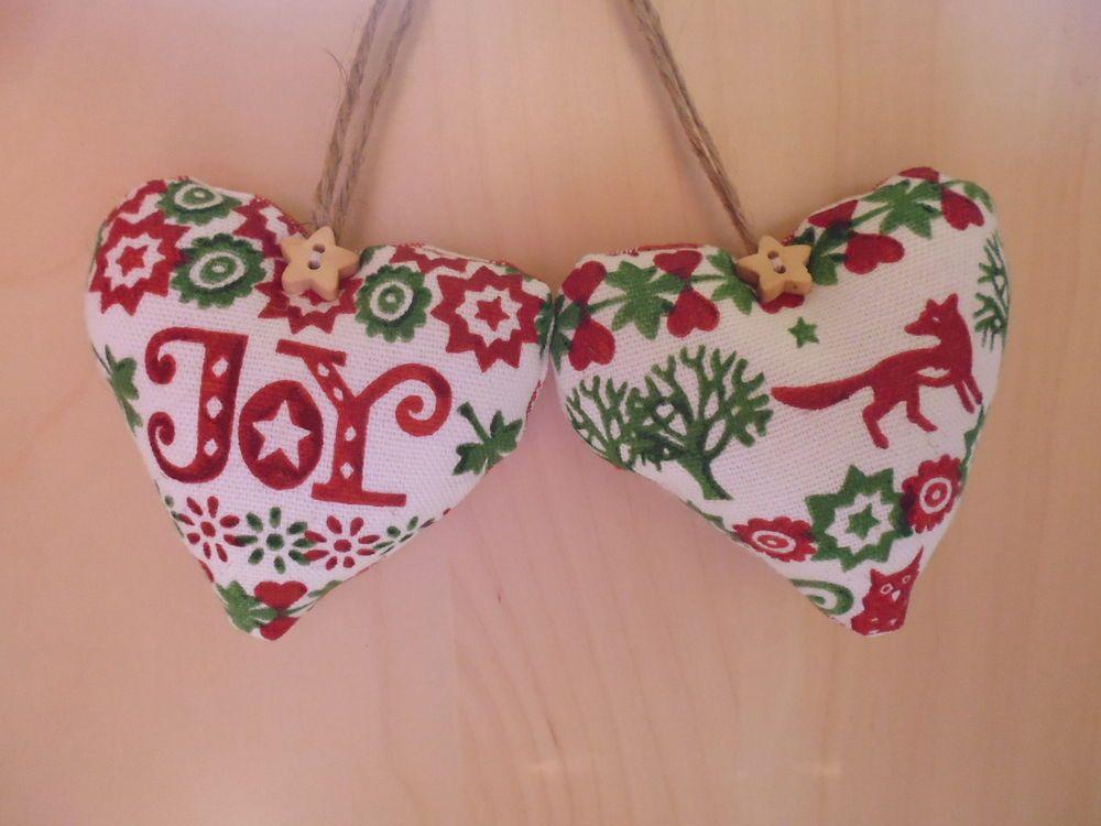 Heart Door Hangers made with Emma Bridgewater Green Joy Christmas fabric