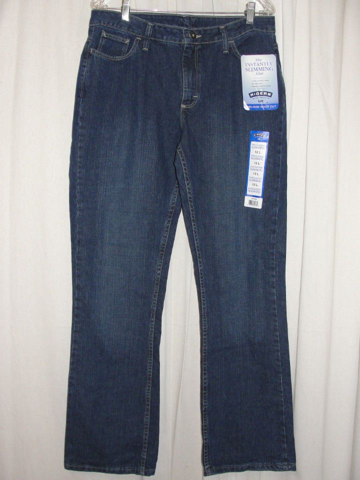 NEW Lee RIDERS Womens Instantly Slimming Stretch Mid-rise Bootcut Jeans Sz 12 L…